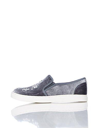 RED WAGON  Mädchen Sneaker mit Samt und Kristallen, Grau (Grey), 23 EU