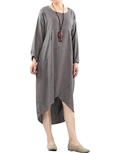 Mordenmiss Women's Cotton Linen Dresses Irregular Hem Shirt Dress with Pockets (XL Gray)