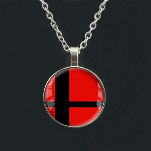 Super Smash Bros Ball rojo y negro colgante de cristal redondo collar de plata para hombres mujeres regalo gargantilla joyería