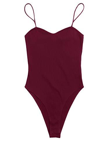 DIDK Damen Bodys Bodysuit Strick Spaghettiträger Bodies Einfarbig Elegant Damenbody Basic Camisole Body Burgund L