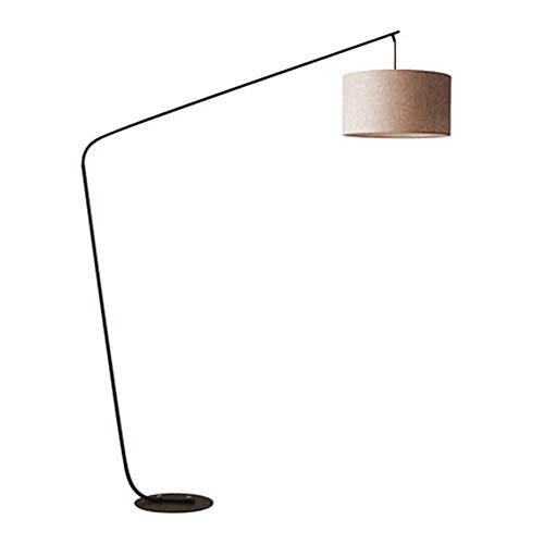 DROMEZ Lámpara de Pie Curva, Luz de Pie Arco con Control Remoto, Temporizador, Regulable, Temperaturas de Color Ajustable, Base de Hierro Estable, Pantalla de Tela, Bombilla E27, 12W,Beige