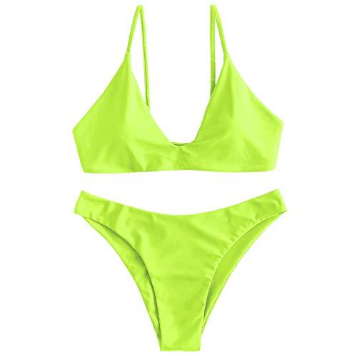 ZAFUL Women's Tie Back Padded High Cut Bralette Bikini Set Two Piece Swimsuit (Green Yellow, S)