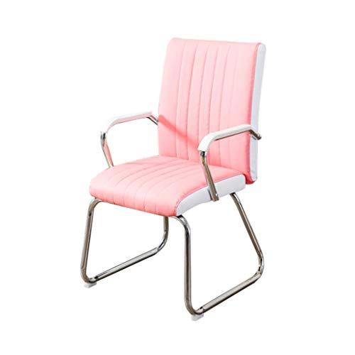 PU computer stoel, meisje kamer stoel comfortabele draagbare bureaustoel studentenslaapzaal stoel personeel conferentie stoel roze