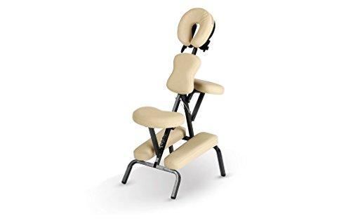 Heaven Massage Deluxe Portable Folding Massage Chair w/Carry Case & Strap - Beige