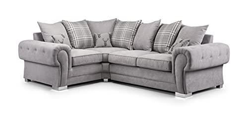 Honeypot - Sofa - Verona - Fabric - Corner Sofa - 3 Seater - 2 Seater - Footstool (Grey, 2C1 Left Hand)