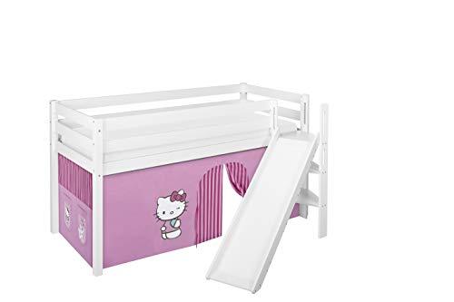 Lilokids Spielbett JELLE Hello Kitty Rosa - Hochbett weiß - mit schräger Rutsche und Vorhang