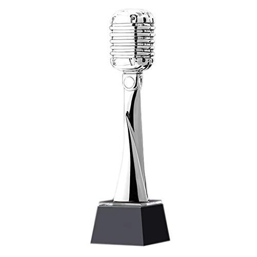 LI HAO SHOP Trofeo de Oro del micrófono, Trofeo micrófono, Trofeo de Cristal, Trofeo Arte, la personalización Trofeo Canto discurso Concurso de acogida (Color : Silver)