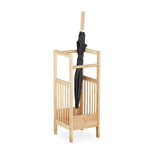 Relaxdays Schirmständer Bambus, eckig, 2 Griffe, H x B x T: ca. 64 x 25 x 26,5 cm, Umbrella Stand, Schirmhalter, natur