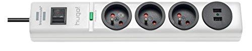 Brennenstuhl–Hugo Steckdosenleiste 3-fach/2Steckdosen USB mit Überspannungsschutz Kabel 2m, 230V, weiß, 1150611523, 230 voltsV
