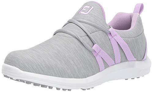 FootJoy Women's FJ Leisure Slip-On Golf Shoes, Grey/orchid, 8.5 M US