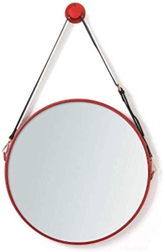 Mr.T Yantong Nordic Riem Ronde Muur Spiegel Rood Dressing Tafel Decoratieve Spiegel Retro Badkamer Spiegel Meisje Beste Gift Convex wegspiegel