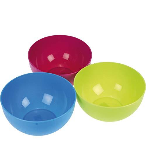 # JEAN # 3er Set Schüssel rund aus Kunststoff in pink, blau und grün, 2,5 Liter, 20 x 10,5 cm, Plastikschüssel, Rührschüssel, Kunststoffschüssel