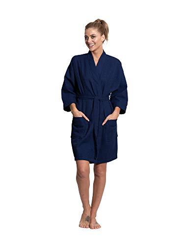 Turkuoise Kimono de algodón de alta calidad para mujer, hasta la rodilla, ligero, para dama de honor, Azul marino/flor y brillo, XXL