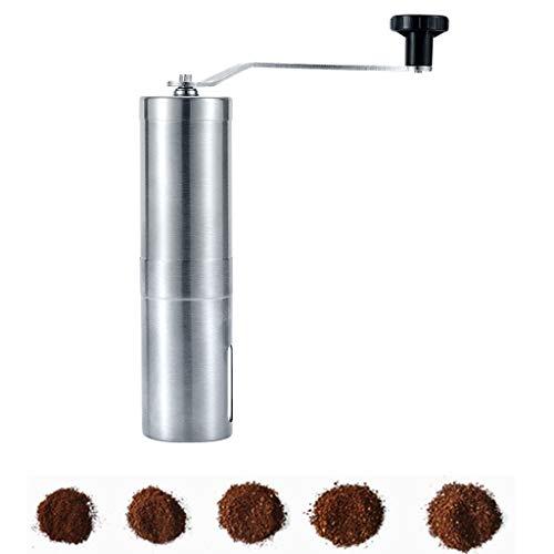 SOPRETY handmatige koffiemolen maalgraad instelbaar met keramisch maalwerk, handkoffiemolen van roestvrij staal, draagbaar voor outdoor, camping, reizen, onderweg, zilver