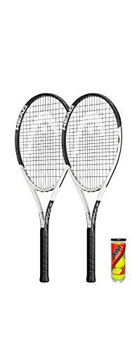 HEAD GEO Speed - Raqueta de tenis (2 unidades, incluye fundas protectoras y 3 pelotas de tenis)