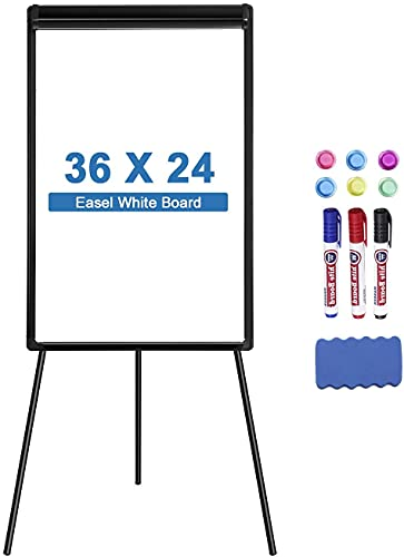 Easel Whiteboard Tripollo Magnetic Dry Erase Tripod Board 36 x 24 inch Adjustable Flipchart with Paper Clamp and Hooks for Office Home Classroom and Restaurant (Stand Black, 36X24 inch)