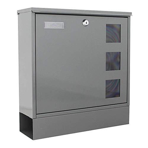Rottner T06049 cassetta postale Postale Grey, in acciaio con apertura frontale e fermaporta, supporto per giornale e 3 finestrelle di ispezione, colore grigio