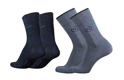 bugatti Herren 4er Pack Logo + uni basic schwarz, jeans melange, Size:43-46, Farben:jeans