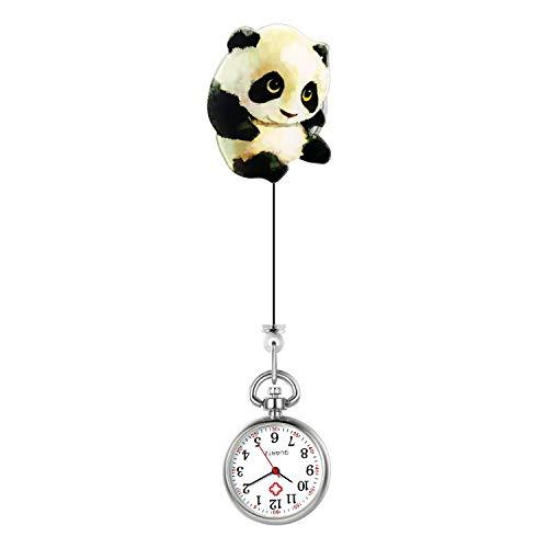 Lancardo Reloj Enfermera Linda Reloj Médico de Bolsillo con Decoración Panda Paramédico Reloj de Cuarzo para Doctor Prendedor de Broche Uso Hospital Clip de Uniforme Longitud Estirable
