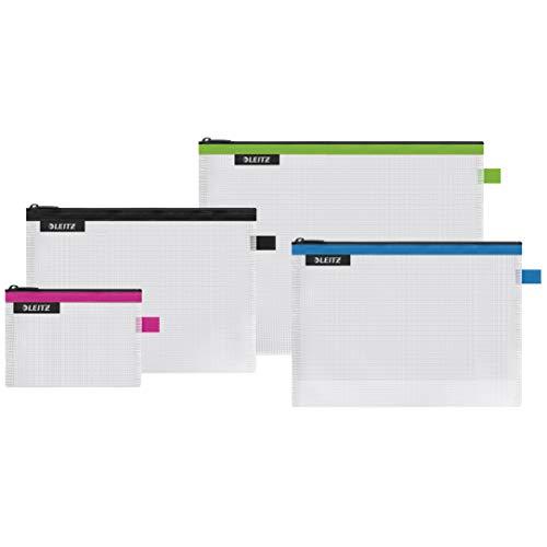 4er-Set Leitz WOW Traveller Zip-Beutel, Transparent, Ideal zur Organisation, Wasserabweisend, Größe: S (pink), M (schwarz), L (grün) und die Kosmetiktasche (blau), 40160099