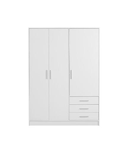 FORTE Jupiter Kleiderschrank 3-türig, 3 Schubkästen, Holz, weiß matt, 144.6 x 60 x 200 cm