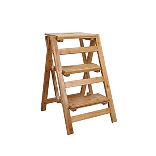 BENCONO Ladder Bamboo Folding Ladder 5 Steps Finishing for Home Kitchen Attic Flower Stand - Wood Color (66 X 52.5 X 41cm)