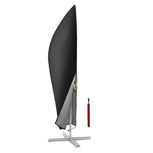 Deyard Housse de Parasol, Banane Cantilever Hanging Extra Large Housse de Parapluie avec Fermeture à glissière, Tissu Oxford Respirant imperméable (265 x 40/70 / 50 cm)- Noir