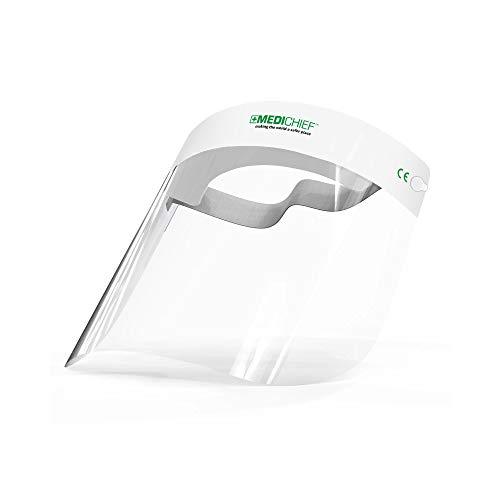 Protector Facial/Visor Facial Premium Medichief (Paquete de 10 Unidades) Visor Facial Completo, Protector Facial Transparente con Protección Antiempaño, Protector Facial de Seguridad Aprobado (MFS1) 🔥