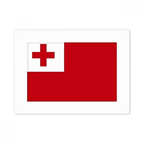 DIYthinker Tonga National Flagge Ozeanien Land Desktop-Foto-Rahmen-Weiß-Bild-Kunst-Malerei Passt 10.2 x 15.2cm (4 x 6 Zoll) Bild Mehrfarbig