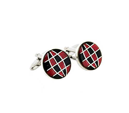 Red Globe Latitude Longitude Ball Cufflinks Cuff Links by Unknown