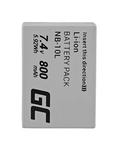 Green Cell® NB-10L Kamera-Akku für Canon PowerShot G1 X G3 X G15 G16 SX40 HS SX50 HS SX60 HS, Full Decoded (Li-Ion Zellen 800mAh 7.4V)