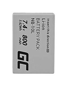 Green Cell® NB-10L Batería para Canon PowerShot G1 X G3 X G15 G16 SX40 HS SX50 HS SX60 HS Cámara, Full Decoded (Li-Ion Celdas 800mAh 7.4V)