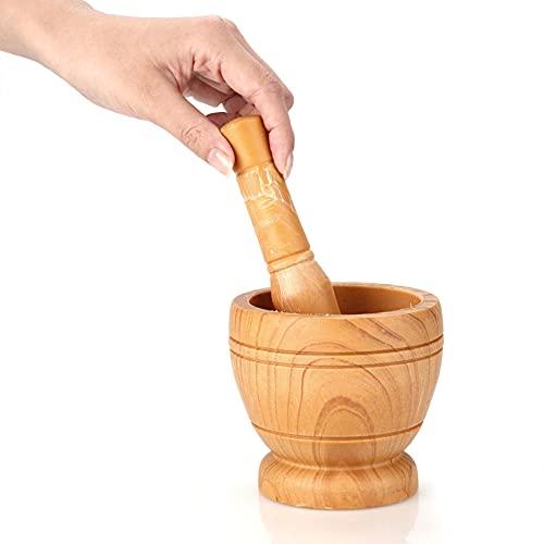 BEAUTYBIGBANG Mortier manuel en bois avec pilon pour broyer l'ail, le gingembre, les épices, le mortier et le pilon