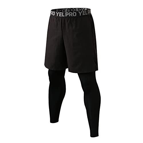 Shengwan Leggings Largos Hombre 2 en 1 Mallas de Compresión Secado Rápido Yoga Deportes Pantalones de Correr con Bolsillo Negro XXL