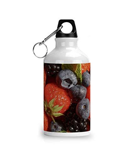 Cheeky Chaps Clothing Botella de agua de aluminio para deportes de verano de frutas vibes fresa, arándano y menta YUM Kawaii