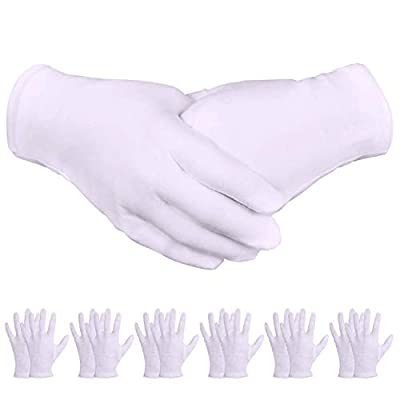 White Gloves, Zealor 24 Pairs Soft Thickened Cotton Gloves, Stretchable Lining Glove for Cosmetic Moisturizing and Coin Inspection