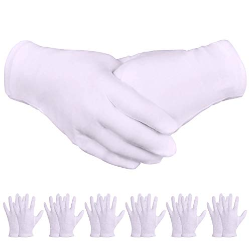 White Gloves, Zealor 24 Pairs Soft Thickened Cotton Gloves, Stretchable Lining Glove, Medium Size