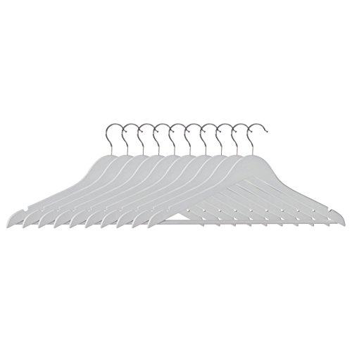Premier Housewares Kleiderbügel, matt Set von 10, Holz, Weiß, 1x 45x 24cm, Metall, 1x45x24,