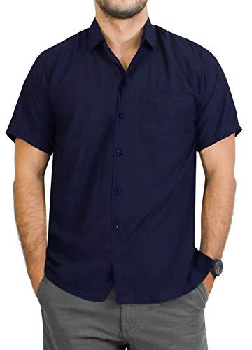 LA LEELA Men's Solid Plain Dress Short Sleeve Hawaiian Shirt 4XL Navy Blue_AA283
