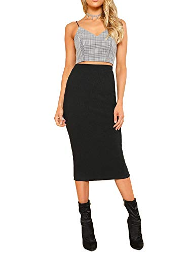 SheIn Women's Basic Plain Stretchy Ribbed Knit Split Full Length Skirt Black# Medium