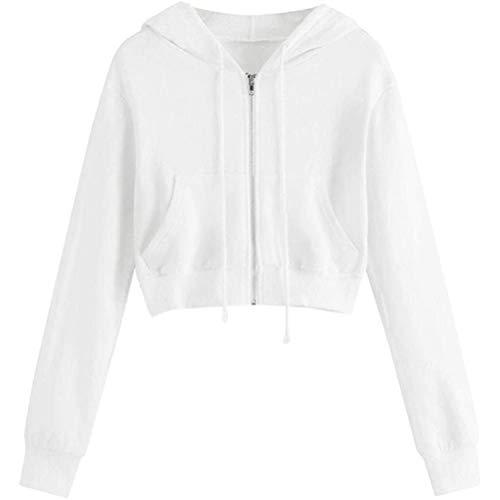ORANDESIGNE Damen Sweatjacke, Teenager Mädchen Bauchfrei Kapuzenpullover Langarm Kurz Hoodie Sweatshirt Crop Pullover Tops Kapuzenjacke mit Kordel und Zip A Weiß XS