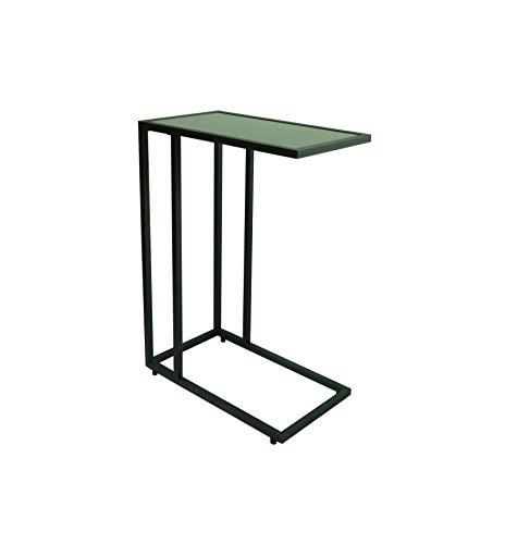 ASPECT Bellini Glass Top Sofa Side End Laptop Table Black, 46x26x64.5(H) cm