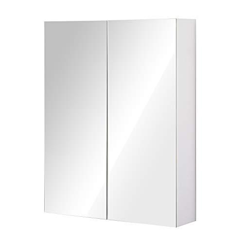 HOMCOM Armoire avec Miroir en Bois Rangement Salle de Bain Fermeture Porte Tampon MDF Blanc