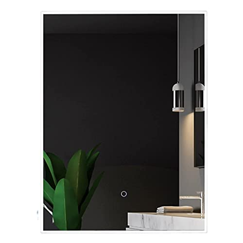 YLDXP Rectangle Vanity Makeup Mirror, Smart Bathroom Mirror with Touch Switch, Warm White Lights Dimmable, for Vanity Shower Toilet (Size : 60 * 80cm/24 * 31inch)