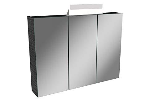 Lanzet LED Spiegelschrank L1 / Badschrank mit LED Leuchte/Maße (B x H x T): ca. 80 x 68 x 14,5 cm/Möbel fürs Bad oder WC/Badezimmer Schrank mit 3 Türen/Korpus: Schwarz/Front: Spiegel