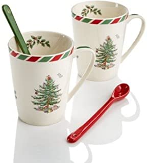 Spode Candy Cane Set of 2 Mugs with Spoons