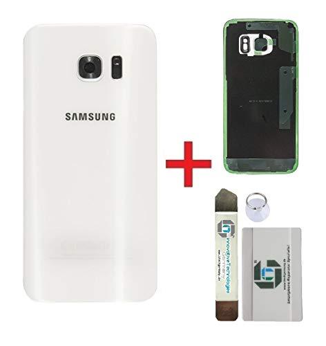 iTG® Original Akkudeckel Reparatur-Set für Samsung Galaxy S7 Weiss (White Pearl) – Original Samsung Rückseite Batterieabdeckung für Modell SM-G930F + Vormontierte 3M Klebefolie + Werkzeug-Set