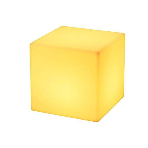 Cubo LED Muebles luminosos al aire libre Taburete de los niños Decorativo de la luz nocturna Fiesta de la luz de la noche Luz recargable para el regalo del niño, 16 colores RGB Lámpara de noche RC Aju