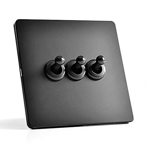 Modeen Interruptor De Pared Negro Mate Palanca del Panel Interruptor Retro 1-4 Gang De Control Doble Simple De 2 Vías Tipo 86 Interruptor De Control De Accesorio De Lámpara De Pared De Estilo Nórdico