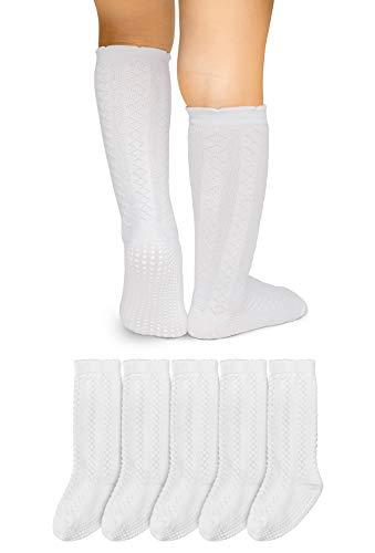 LA Active Kniestrümpfe Lange Socken mit Zopfmuster - Baby Kleinkind Säugling - Rutschfeste Anti-Rutsch - 5 Paar (Weiß, 12-36 Monate)